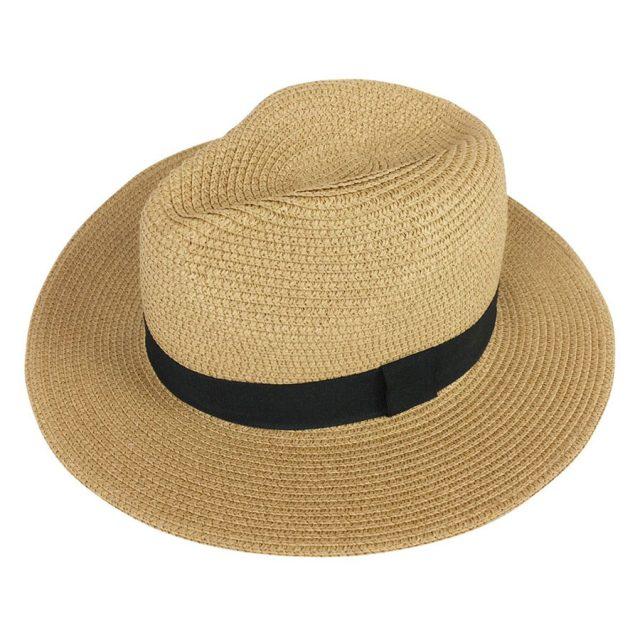 Lanzom Wide Brim Straw Fedora Beach Sun Hat